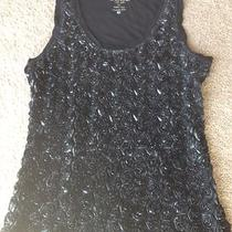 Euc Bebe Black Tank Top Med/lg Fancy Roses Photo