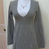 Euc - Bebe Heather Gray 100% Cashmere v-Neck Dress - Size Xs - Stunning Photo