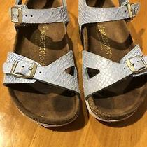 Euc Birkenstock Rio Size 11 Girls Magic Snake Metallic Blue Sandals Photo