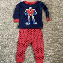 Euc Boys Baby Gap Robot Long Sleeve Shirt Pants Pajamas 6-12m Photo