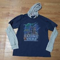 Euc-Boys  Ls Gap Junk Food Shirt-W/hood-Blue-Gray Sleeves-Star Wars Clone Wars- Photo