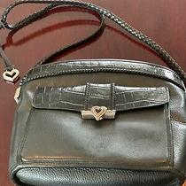Euc Brighton Black Pebble Leather & Croc Medium Handbag Photo