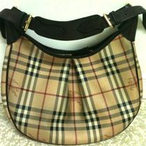 Euc Burberry Haymarket Check Hobo Handbag Purse Authentic Reduced Price Photo