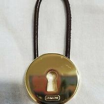 Euc Coach Brass/leather Keyhole Keychain/ring/charm/fob Rare Photo