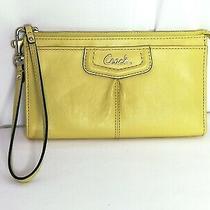 Euc Coach Bright Yellow/green Leather Wallet/wristlet Photo