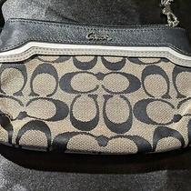 Euc Coach Clutch Wristlet Wallet Black White Signature Canvas Leather Trim Strap Photo