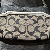 Euc Coach Clutch Wristlet Wallet Black White Signature Canvas Leather Trim Strap Photo
