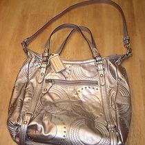 Euc Coach Dark Metallic Gold Embossed Soft Leather Shoulder Handbag Purse Photo