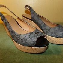 Euc Coach Ferry Logo Jacquard Cork Wedge Sandals Shoes Black Size 10 B Photo