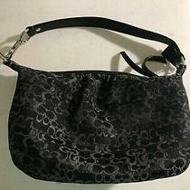 Euc Coach  H0873-42039 Small Bag/clutch/purse Black & Silver Logo Photo