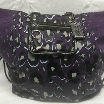Euc Coach Large Tote Nylon 14x6x13 Strap 9 Purple-Black-Sequins Photo