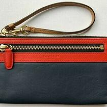 Euc Coach Legacy Colorblock Leather Large Wristlet Wallet Navy & Red Purse  Photo