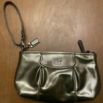 Euc Coach Madison Wristlet Pewter With Satin Teal Lining Msrp 98 Photo