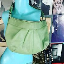 Euc Coach Mint Green Leather Soho Pleated Hobo Shopper Shoulder Purse Bag F13731 Photo