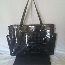 Euc Coach Peyton Linear C Embossed Patent Leather Diaper Baby Bag Laptop F33491  Photo