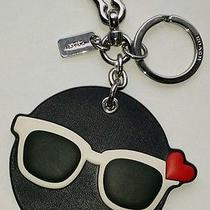 Euc Coach Shady Emoji Charm Sunglasses Heart Leather Keychain Key Ring 65825  Photo