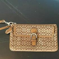 Euc Coach Wristlet in Brown Coach Logo Fabric Photo
