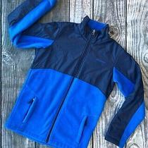 Euc Columbia L 14/16 Boys Fleece Full Zip Up Sweatshirt Blue Fleece Nylon 2 Tone Photo