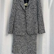 Euc Couture Horst Basler Skirt Suit Black/ White Buckle Sz 38 F/ 40 Gb/12 New Photo