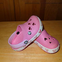 Euc Crocs Mickey Mouse Pink Size 4/5 Kids Photo