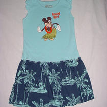 Euc Disney Store Girls Minnie & Mickey Mouse Blue Hawaiian Cruise Dress Sz M 7/8 Photo