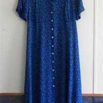 Euc Dress Barn Woman 1x/2x Blue/aqua Print Rayon Long Length Dress Short Sleeves Photo