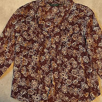 Euc - Eddie Bauer Brown & Cream Blouse - M - 100% Cotton - 3/4 Length Sleeves Photo
