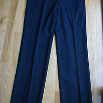 Euc Elie Tahari Deep Navy Blue Straight-Leg Career Pants (10) Virgin Wool Photo