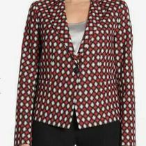 Euc Emporio Armani Blazer Jacket Checkered Red White Black Wng37t Sz Eur 42 Sz 8 Photo