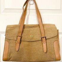 Euc Etienne Aigner Canvas Leather Trimmed Handbag Shoulder Bag Purse Photo