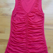 Euc Express Candy-Pink Fuchsia Ruched v-Neck Lined Sleeveless Top (L) Photo