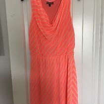 Euc Express Chiffon Bright Coral Candy Stripes Dress Size M Photo