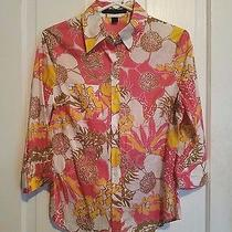 Euc Express Design Studio Size Medium Pink Yellow White Button Down Shirt Photo