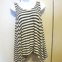 Euc Express Dreamweight Cotton Oversized Tank Top Gray and White Striped S  Photo