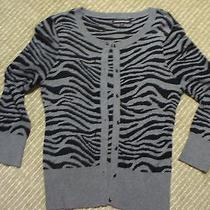 Euc Express Gray & Black Zebra Cardigan Sweater Black Jeweled Buttons Size Med Photo