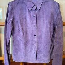 Euc Express Light Purple Lavender Suede Leather Jacket 7/8 Photo