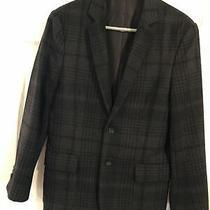 Euc Express Men's 38s Black & Gray Plaid Wool Blend Blazer Sport Jacket Coat Photo