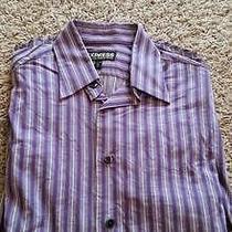 Euc Express Mens Dress Shirt Xs 13 13.5 Modern Fit Purple Striped Juniors Photo