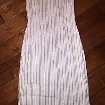 Euc Express White Dress Black Pinstripes Strapless Size 7/8 Pencil Straight  Photo