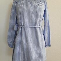 Euc Express Womens Blue-White Striped Smocked Off the Shoulder Dress Size Xs Photo