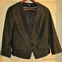 Euc Express Women Sz 12 Gray 1 Button Suit Dress Jacket Blazer Stretch Career Photo