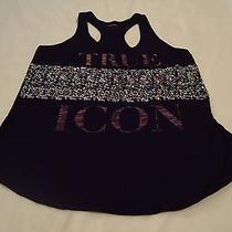 Euc Express Womens Black Graphic Tank Top With Sequins Size Small Photo