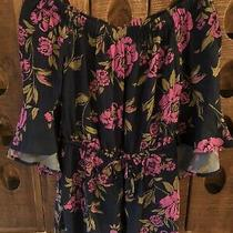 Euc Express Womens Floral Off Shoulder Tie Waist Ruffle Sleeve Romper Xs Photo