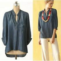 Euc Fall Anthropologie Elevenses Womens Wagner Top  Denim Tencel High Low Xs Photo