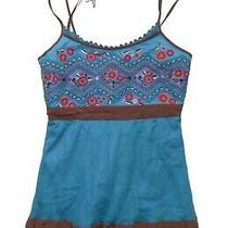 Euc Floral Embroidered Blue Mesh Tank Top by Plenty by Tracy Reese - Sz 4 Photo