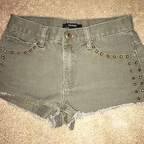 Euc Forever 21 Studded Olive Green Denim Cutoff Shorts Women's Size 24 Photo