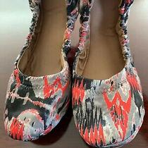 Euc Fossil Fabric Ballet Flats Black/ Red/ White 10 M Photo