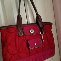 Euc Fossil Key Per Women's Tote Bag  Quilted Red Pink Nylon Brown Leather Trim Photo