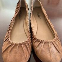 Euc Fossil Leather Saddle Brown 9.5m Pleated Ballet Flats Photo