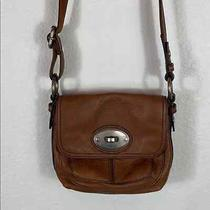 Euc Fossil Small Brown Leather Flap Silver Hardware Crossbody Bag Photo